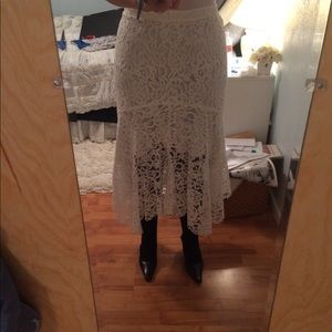 NWT WAYF Ghita Lace Skirt Ivory MD-LG